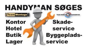 Handyman med erhvervsmæssig erfaring søges snarest, til Skadeservice, Byggepladsservice, Montage af møbler, inventar, udstillinger m.v., samt Interne & Eksterne flytninger på Sjælland.